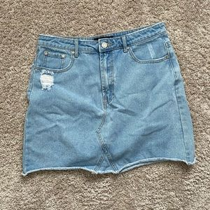 Misguided Distressed Blue Jean Skirt